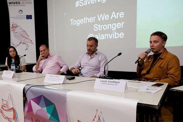 "Waves Vienna Conference 2019, Panel ""Agent of Change"", Astrid Exner, Peter Dobcak, Alan D Miller, Lucas Knoflach (c) Manuel Fronhofer"